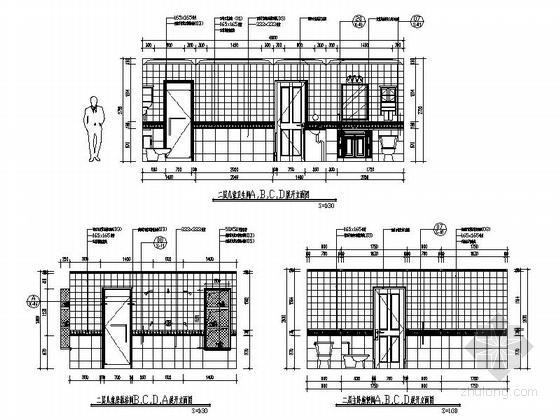 [辽宁]浪漫欧式风格两层别墅样板房室内装修施工图(含实景图)卫生间立面图