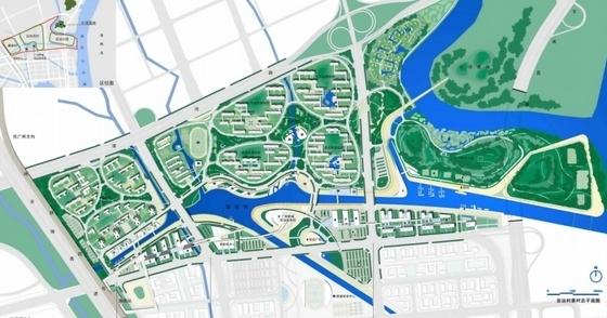 [广州]现代宜居亚运村地块规划设计方案文本-现代宜居亚运村地块规划总平面图