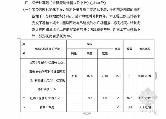 [浙江]2011造价员园林绿化及仿古建筑工程计价试题