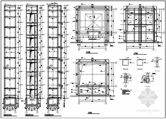 成都某8层酒店户外观光电梯结构设计图