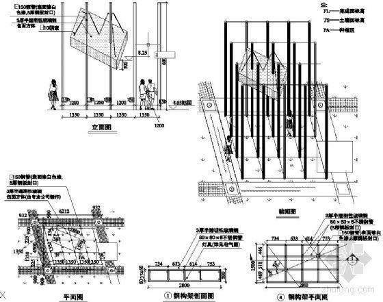特色钢结构树阵景观柱施工图