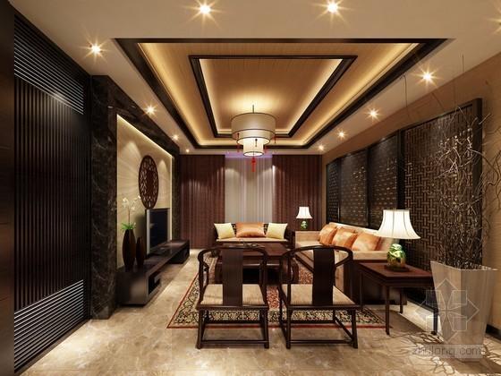 新中式客厅设计3D模型