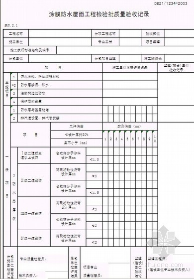 辽宁省建筑屋面工程质量验收记录