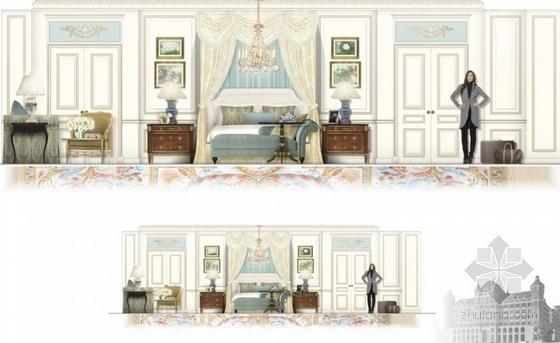 高级品牌国际连锁酒店室内设计方案卧室立面图