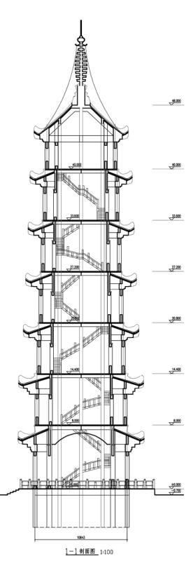 仿古七层八角重檐古塔剖面图