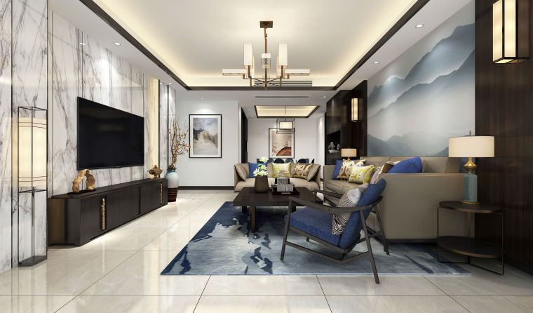 成都东苑D区114平米造价30万的新中式风格装修