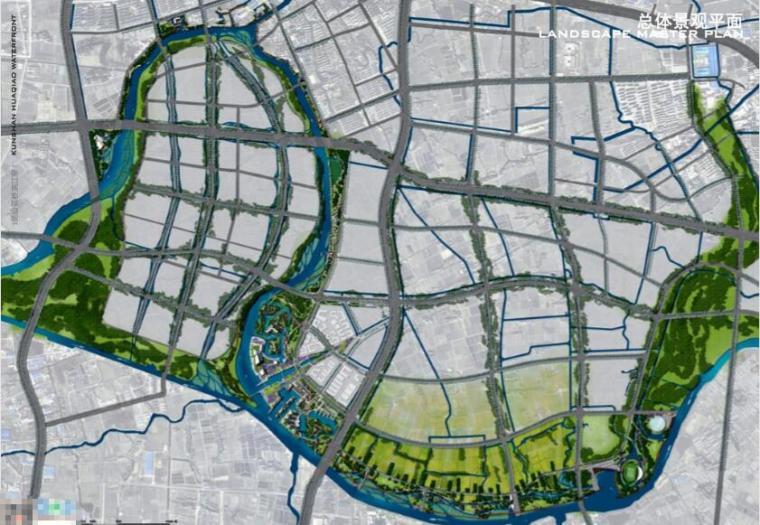昆山花桥滨江带景观规划设计方案-总平面图