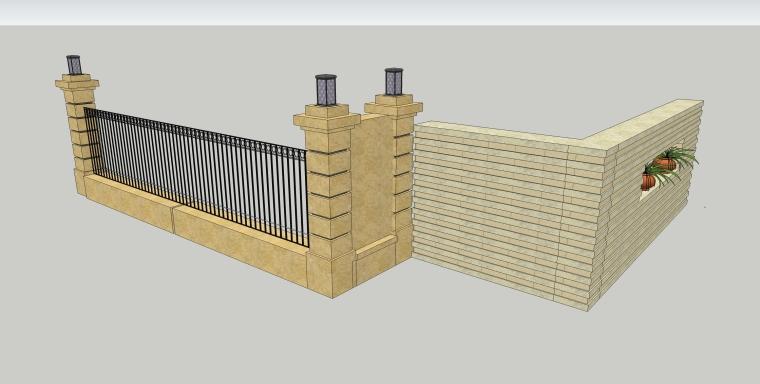 园林景墙庭院景观SU模型设计(10个su模型)_2