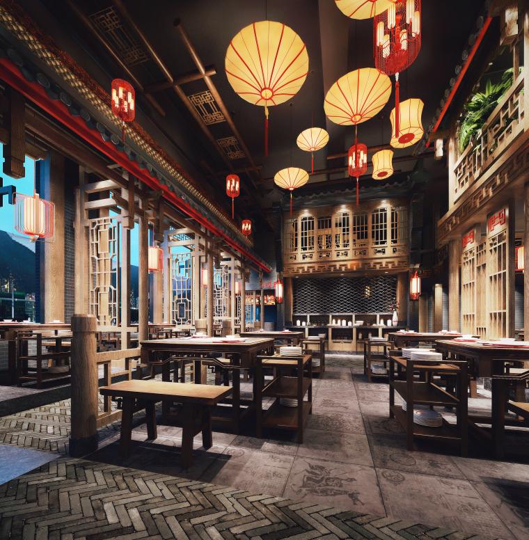 中式风格餐饮空间设计3D模型(附效果图)