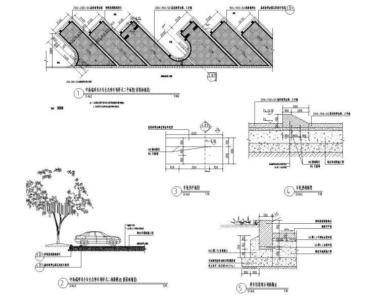小、大车生态停车场做法标准设计(2017年最新资料)-中高端-生态停车场(接园林铺装,石头车档)一