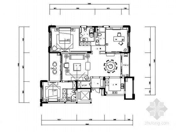 [无锡]简明线条朴素欧式风格三室二厅CAD施工图(含效果图、方案、报价表)