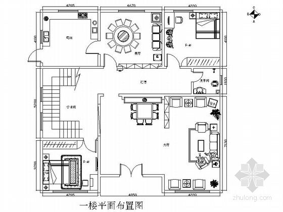 某自建二層別墅中式室內裝修圖