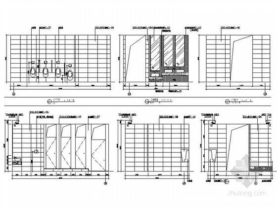 [厦门]中外合资连锁零售企业时尚现代商场装修施工图卫生间立面图