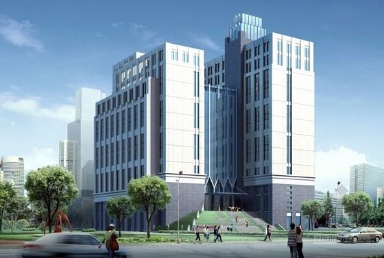 [上海]55米现代古典风格科研中心建筑设计方案文本(含CAD方案图)-55米现代古典风格科研中心建筑效果图