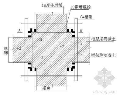 框架柱梁模板施工资料下载-框架梁柱接头模板示意图