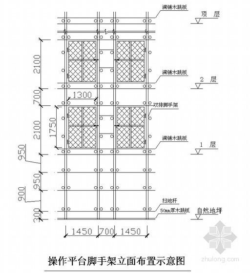 外用施工电梯基础施工图、基座排水及操作平台脚手架示意图(SC200/200施工电梯)