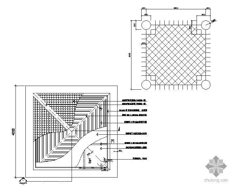 四角景观亭施工结构图