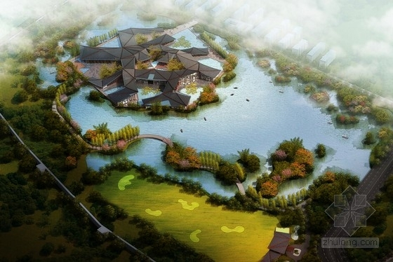 [河南]传统中式风格园林景观式酒店建筑设计方案文本