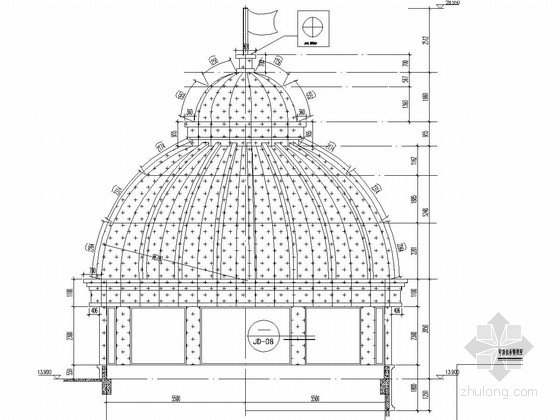 广场钢结构穹顶结构施工图