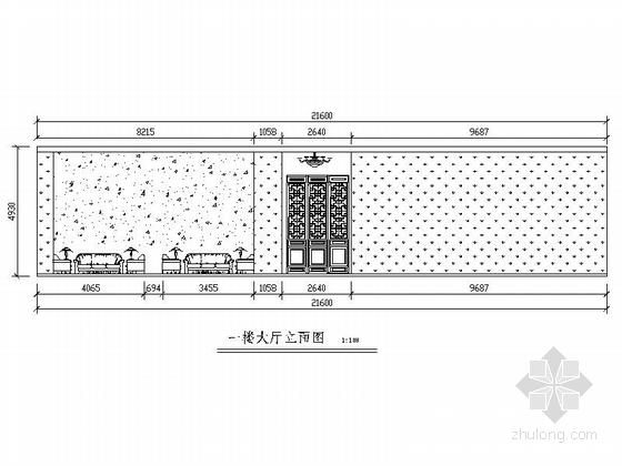 [毕业设计]中式风情度假酒店设计装修施工图大厅立面图