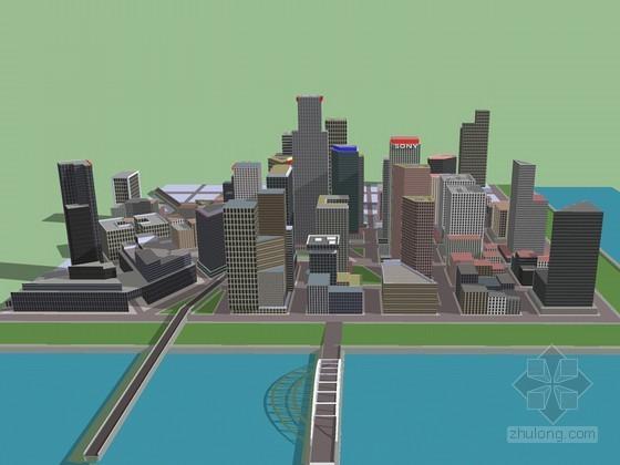 商业区建筑SketchUp模型下载-商业区建筑