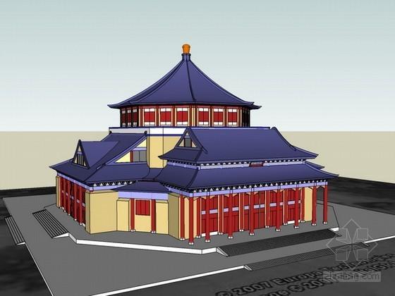 古建筑sketchup模型下载