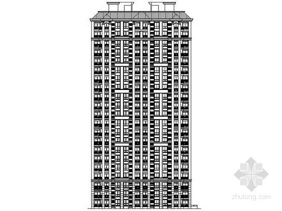 [上海]汤臣某二十一层二梯六户简欧式住宅建筑方案图