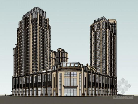 西式风格建筑SketchUp模型下载