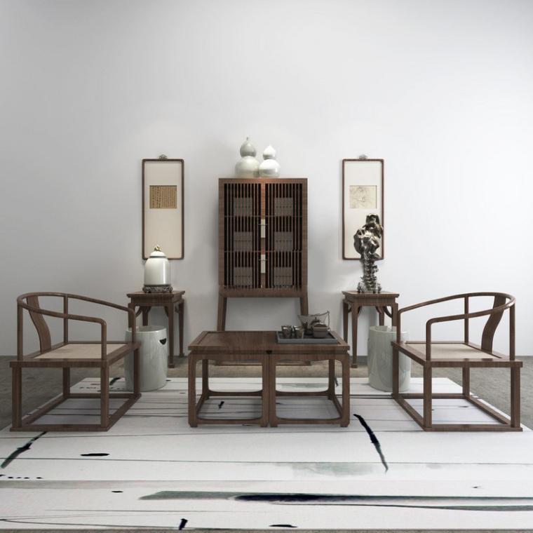 新中式禪意茶館家具組合