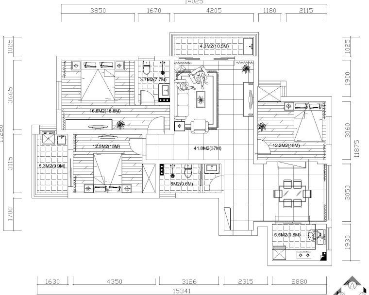 简欧风格三居室施工图设计(附效果图)