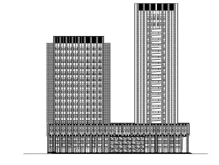 [武汉]高层幕墙立面知名企业办公大楼建筑施工图
