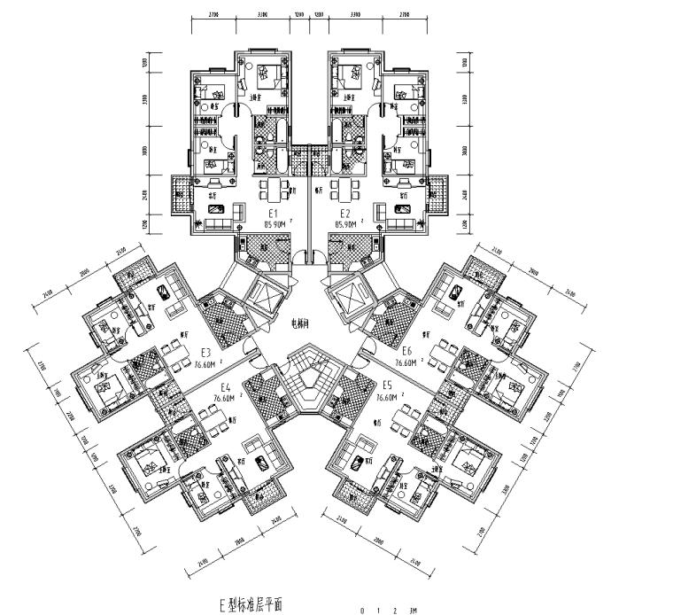60种多层点式及塔式小高层户型平面图(60张)