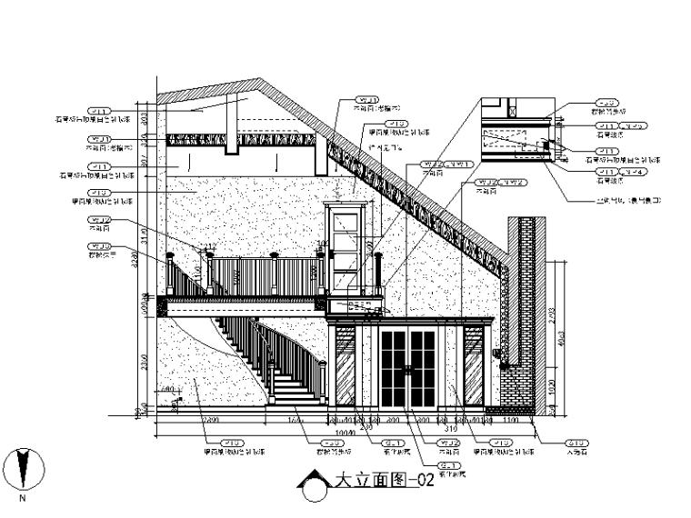 美式风格别墅设计CAD施工图(含效果图)立面图