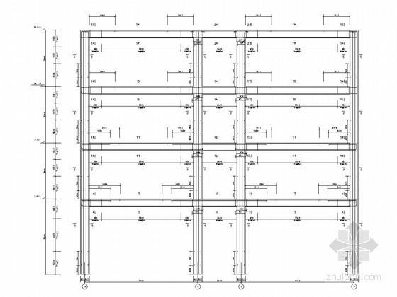 [学士]四层框架结构教学楼毕业设计(含结构设计、建筑设计、计算书)-一榀框架平面配筋图