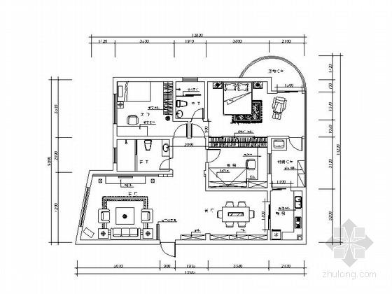 精致现代两居室装修图(含效果图)