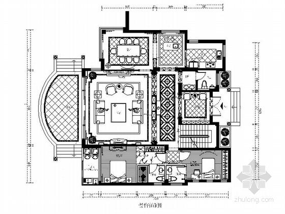 [福州]富豪区独栋精品欧式三层别墅CAD装修图(含效果)