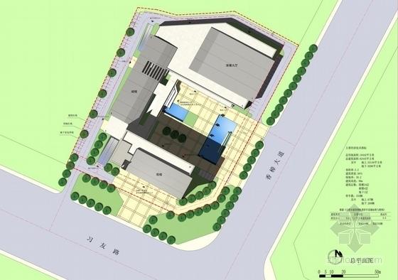 [合肥]大跨度空间广告及电视购物办公综合体建筑设计方案文本(含CAD)-大跨度空间广告及电视购物办公综合体建筑总平面图