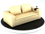 黄色现代皮沙发3D模型下载