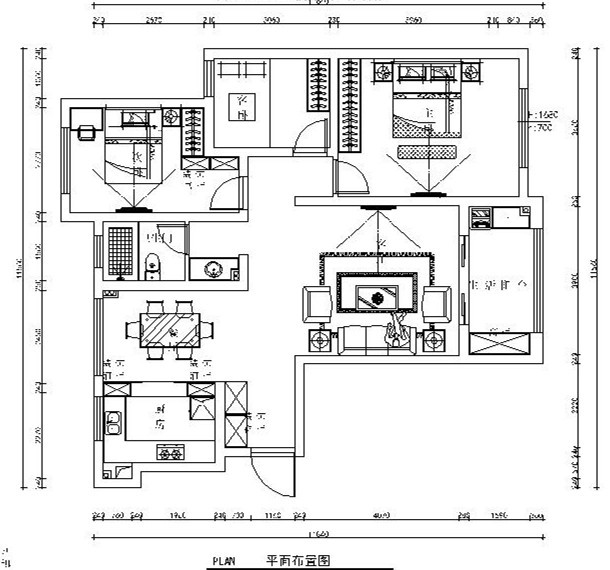 [扬州]现代简约三居室设计施工图