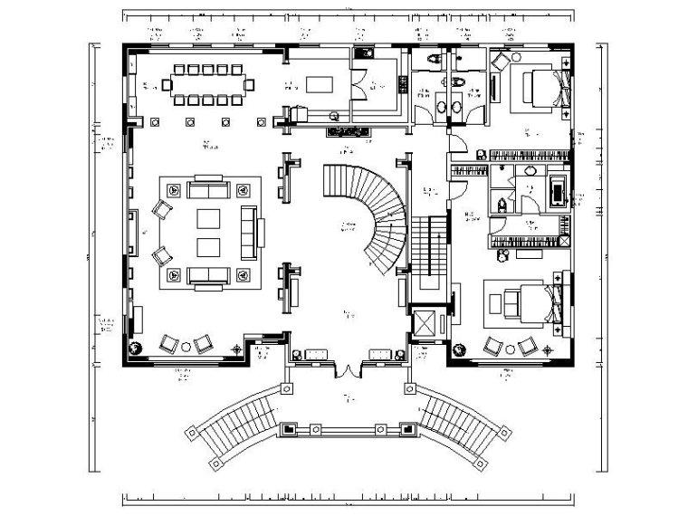 [天津]欧式古典复式别墅设计施工图(含效果图)