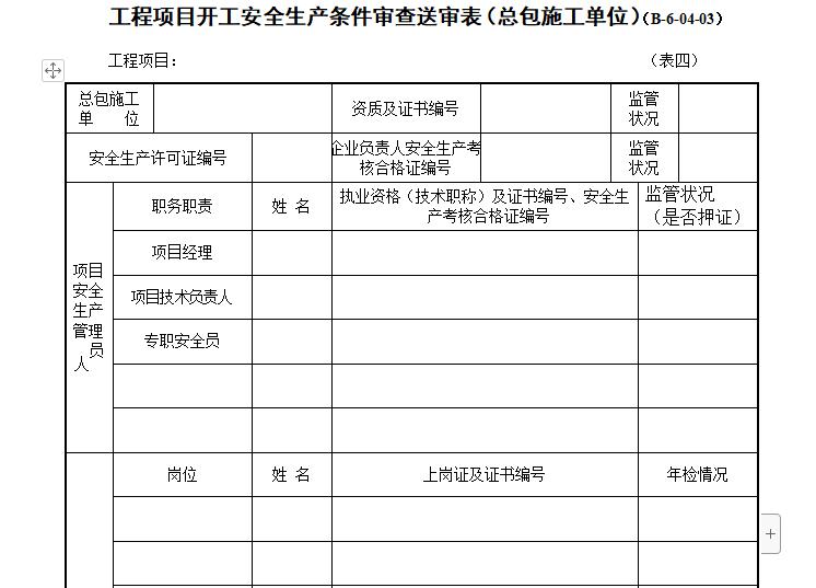 工程项目开工安全生产条件审查送审表(总包施工单位)