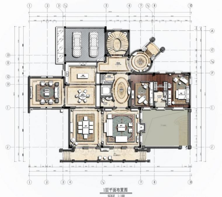欧式风格豪装别墅设计方案(含效果图)