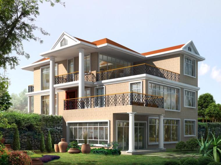 三层欧式别墅建筑方案设计(包含效果图)