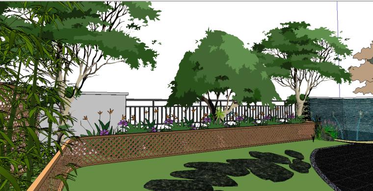 休闲度假别墅庭院景观设计模型