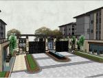 精品某居住小区大门围墙模型设计