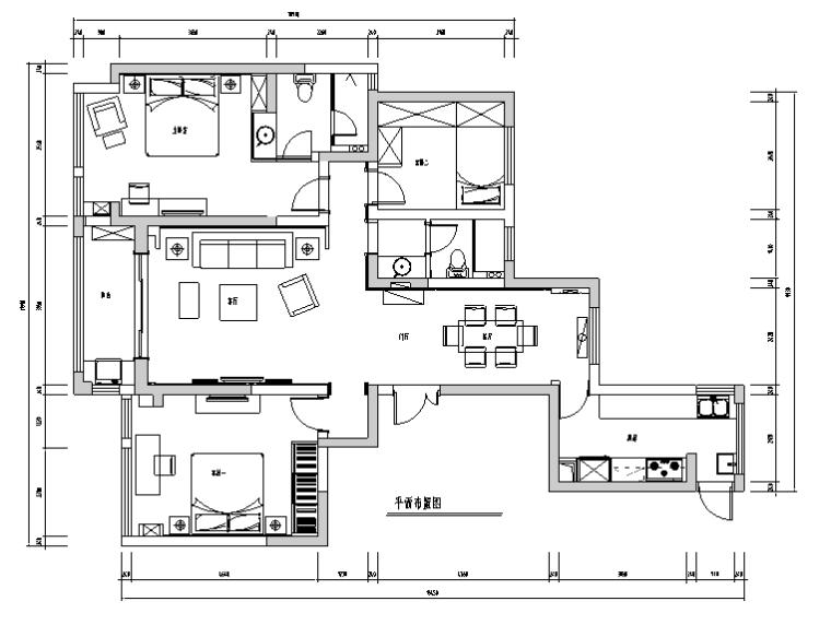 [江苏]现代奢华三居室公寓设计施工图(附效果图)