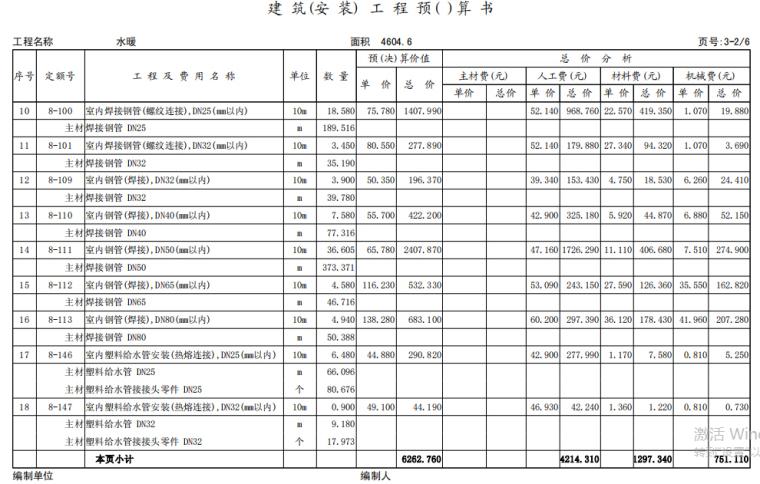 小区住宅楼土建及安装工程全套预算(含建筑结构图纸)_5