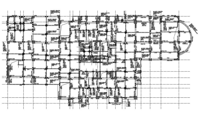 [云南]16层框架核心筒结构商业广场结构施工图(CAD、36张)