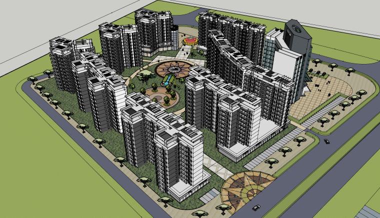 居住区规划完整全套su模型