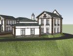 西方新古典风格2层欧式风情广场建筑设计(su模型)